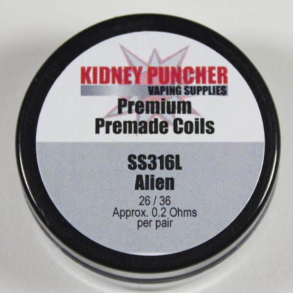 KP Premade SS316L Aliens & Advanced Aliens Coils (26/36 .1ohms 3mm-ID 6-Wrap)